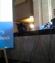 Los Angeles Mayor Eric Garcetti opens help desk at City Hall.