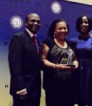 (Left to right) Dr. Ernest L. Johnson, chair, Thalheimer Awards Committee; Tessa Aston-Hill, president, NAACP Baltimore City Branch; and Roslyn M. Brock, chairman, NAACP National Board of Directors.