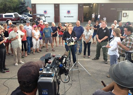 Locals and media gather in Cascade