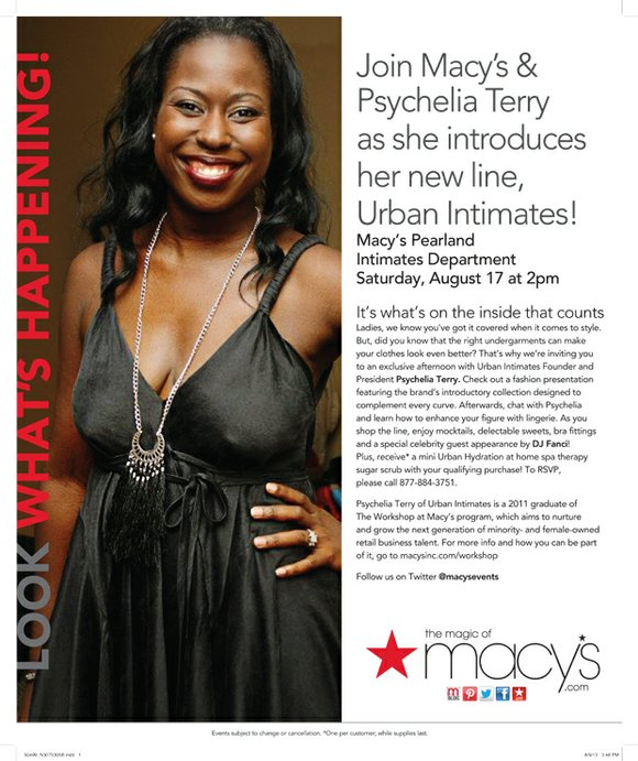 Join MACY'S & Psychelia Terry as she Introduces her new line, URBAN INTIMATES! • Macy's PEARLAND • SAT., August 17th ...