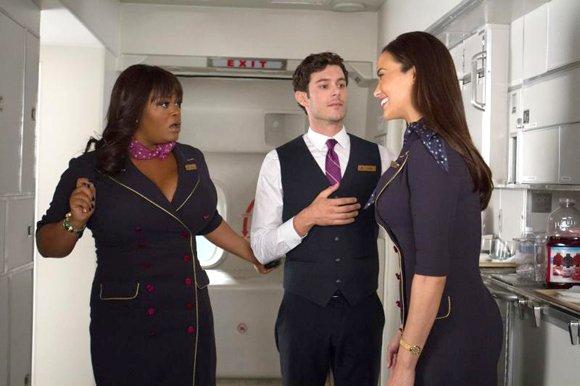 "Jill Scott as ""Gail,"" Adam Brody as ""Sam"" and Paula Patton as ""Montana Moore"" in ""Baggage Claim."""