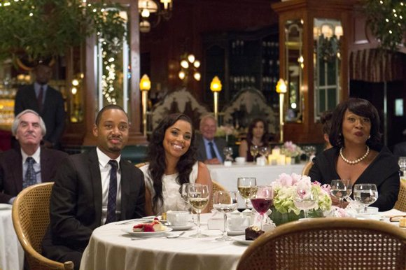"Terrence J as ""Sheree's Fiance,"" Lauren London as ""Sheree"" and Jenifer Lewis as ""Catherine"" in ""Baggage Claim."""