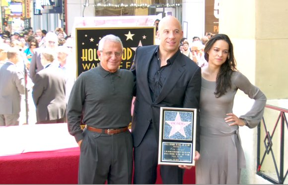 "Vin Diesel with ""Fast and Furious"" co-star Michelle Rodriguez."