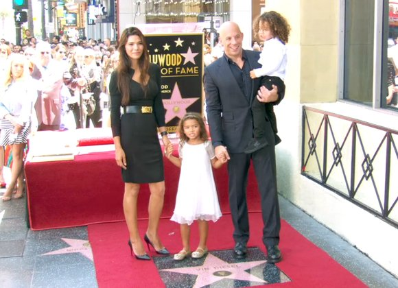 Vin Diesel accompanied by Paloma Jiménez and their two children.