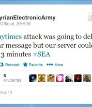 """The Syrian Electronic Army, loyal to Syrian President Bashar Al-Assad, has been behind multiple attacks on media websites in recent months and, on Twitter, took credit for a sophisticated hack that had hobbled the New York Times' website for roughly 20 hours. """"The @nytimes attack was going to deliver an anti-war message but our server couldn't last for 3 minutes,"""" the group posted on its Twitter feed at about 9:40 Wednesday morning."""