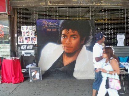 A Michael Jackson painting on 125th Street the day of the King of Pop's televised memorial.