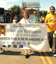 """A multicultural coalition of people and organizations came together Saturday under the banner of the """"We Still Have a Dream Coalition"""" to hold a march and rally highlighting the need to """"fight ongoing legislative and political attacks on communities of color from the extreme right."""" The groups participating in the march from King and Crenshaw boulevards to the rally in Leimert Park included: MoveOn.org, the National Action Network Los Angeles, NAACP, ACLU, Black Student Assembly at USC, League for Young Voters, First A.M.E. Church and Courage Campaign."""