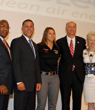 (Left to right) Morgan State University President David Wilson; Lt. Governor  Anthony Brown; Race car driver Simona De Silvestro; Mike Rencheck, CEO, AREVA Inc.; and Edie Fraser, CEO, STEMconnector at the STEM ourteach event hosted by AREVA at Morgan State University on Wednesday, August 28, 2013.