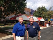 Bolingbrook Mayor Roger Claar (left) visits with Kirk Dillard, Republican candidate for Illinois Governor.