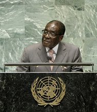 Robert G. Mugabe, President of the Republic of Zimbabwe, addresses a high-level meeting of the General Assembly on the prevention and control of non-communicable diseases.