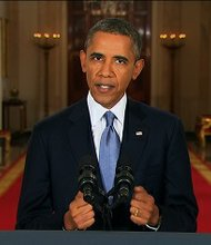 "President Barack Obama said Tuesday night September 10, 2013, that Syria's government violated the ""basic rules"" of warfare, adding: ""The facts cannot be denied. The question now is what the United States of America (will) do about it."""