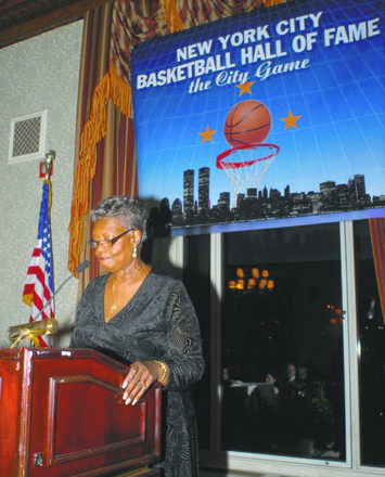 The Rev. Betty A. Spencer gave the invocation at the New York City Basketball Hall of Fame induction ceremony.