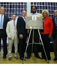"Professional football legend and former Baltimore Raven Jonathan Ogden was recognized by the Pro Football Hall of Fame and Allstate Insurance Company in Washington, D.C., on Friday, September 20, 2013 as part of ""Hometown Hall of Famers™,"" (Left to right):Rodrick Murray, student, Vance Wilson, St. Albans headmaster; Owen Landis Jr., Allstate; Dick Cass, Ravens president; Jonathan Ogden; Cassandra Ogden, Jonathan's mother; Skip Grant, Ogden's former athletic director from St. Albans School, and George Veras, Pro Football Hall of Fame."