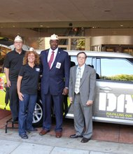 DAV Department of Maryland Commander, Lamarr Couser; Adjutant, Joseph Cuocci; and DAV Auxiliary Commander, Bonnie Cuocci; and Dennis Smith (far right), director of the VA Maryland Health Care System.