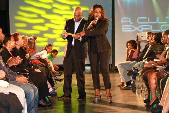 Light, Camera, Runway! fashion show co-hosts Sheryl Lee Ralph and radio personality Kevin Nash.
