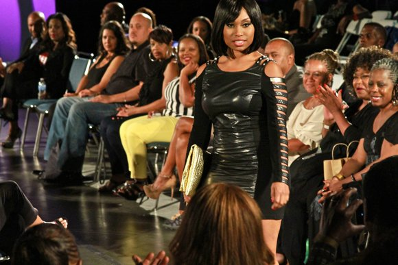 "Leather accents gave this little black dress an extra umph during the WCE Lights, Camera, Runway! fashion show fundraiser modeled by ""Young and the Restless"" actress Angell Conwell."