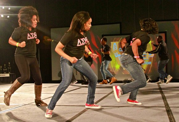 Ladies of the Delta Sigma Theta sorority participate in the stroll-off.