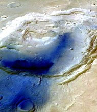 This is a 3-D image of Eden Patera, which was made using data from the High Resolution Stereo Camera aboard the Mars Express Orbiter.