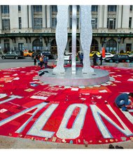 On Sunday, September 29, 2013, the historic Monument Quilt was displayed in the center plaza at Penn Station in Baltimore. The quilt tells the experiences of rape and abuse survivors through pictures and words.
