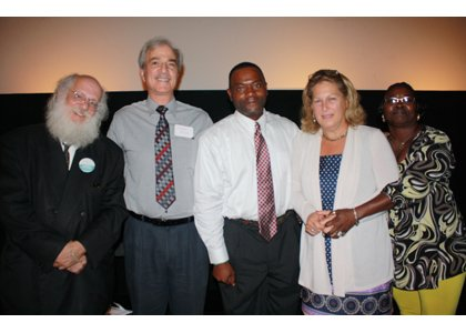 "Panelists who spoke and answered questions after the screening of ""A Place at the Table"" in September in Baltimore. (Left to right) Jeff Singer, University of Maryland School of Social Work; Dr. Michael Reisch, Daniel Thursz Distinguished Professor of Social Justice, University of Maryland School of Social Work; Tony Simmons, Baltimore Area Faces of Homelessness Speakers Bureau; Ellen Teller, director of Government Affairs, Food Research and Action Center; and Bonnie Lane, Baltimore Area Faces of Homelessness Speakers Bureau."