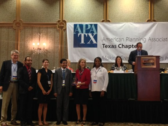 The city of Houston Planning Department received the Current Planning Award for the Urban Houston Framework from the Texas Chapter ...