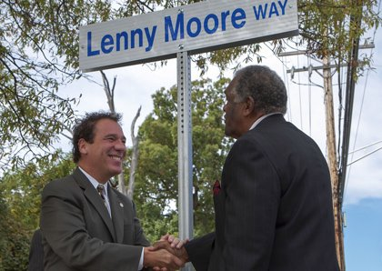 Dozens of enthusiastic Baltimore Colts fans gathered around County Executive Kevin Kamenetz on Tuesday, October 8, 2013 at a ceremony ...