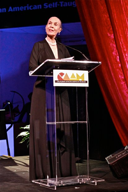 Dancer and L.A. native, Carmen De Lavallade speaks to the audience after receiving a Lifetime Achievement Award for herself and her husband felllow honoree, Geoffrey Holder, at CAAM annual cala.