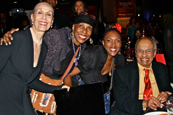 Carmen De Lavallade (left) celebrates receiving CAAM's Lifetime Achievement Award, with long-time friends and colleagues, including Lula Washington and  Tamica Washington-Miller (center) of Lula Washington Dance Theatre, and legendary choreographer, Donald McKayle (seated right).