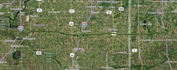 This map shows the proposed Illiana Expressway. A vote is expected today to decide whether the project be included in the 2040 Fiscally Constrained Transportation plan.