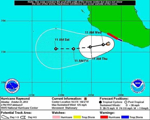 The powerful but compact Hurricane Raymond was parked off southern Mexico's Pacific coast Monday, growing slightly as it dumped heavy ...