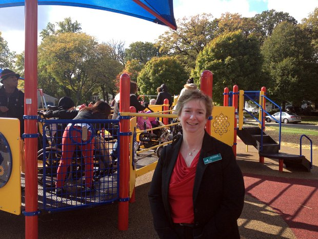 Sue Knaperak, Director of School Services at UCP who served on the playground committee, was on hand Thursday for the ribbon cutting and grand opening ceremony of the new playground.