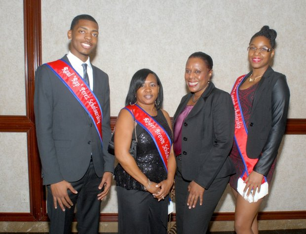 L to R: Brooklyn USA 2013 scholarship recipients Christian Henderson; Kamrie McKay; Alexandra Lange, accepting on behalf of her son, Jeffrey Lange; and Rodnesa Diamond.