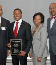 (Left to right) Dr. Ronald C. Williams, dean, College of Business, Coppin State University; Dr. Jayfus Doswell, keynote speaker; Dr. Sadie Gregory, provost and vice president, Academic Affairs, Coppin State University and Dr. Samuel Ross, CEO, Bon Secours Baltimore Health System at the Speaker Series Luncheon held at the College of Business at Coppin State University on Wednesday, October 16, 2013.