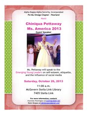 Psi Mu Omega Chapter of Alpha Kappa Alpha Sorority, Incorporated hosts Chiniqua Pettaway, Ms. America® 2013 for Emerging Young Leaders.