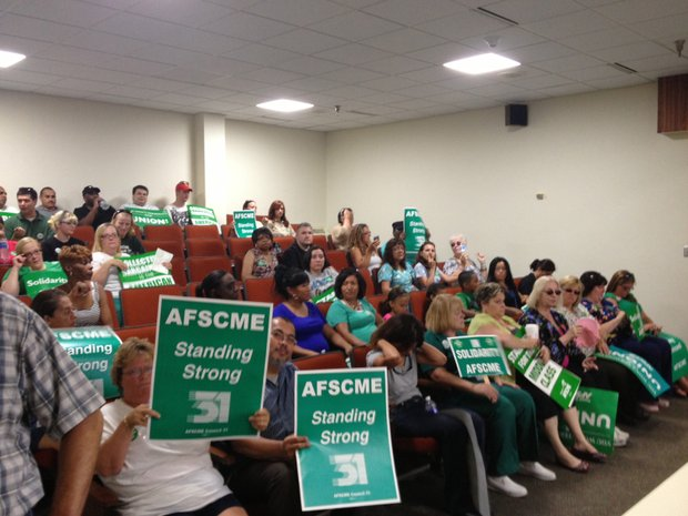 Will County union employees show their solidarity at Will County Board meeting late this past summer.