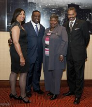 President Donnell Spivey is supported at NAREB's Presidential Kickoff Reception by NAREB's current and past leaders. (Left to right): Maria Kong Douglas (Fort Lauderdale, Florida), current board vice chair and past NAREB president; Donnell Spivey, president; Andrea Cooksey, current board chair (Houston, Texas); and Julius Cartwright, outgoing NAREB president (Cleveland, Ohio).