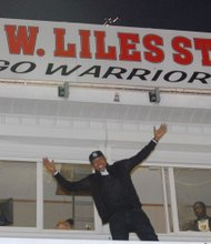 Kevin W. Liles was honored for his contributions to Woodlawn High School in the stadium bearing his name during halftime at the Homecoming footbal game on Friday, October 25, 2013.