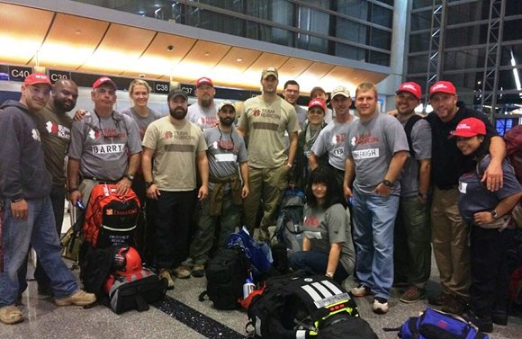 A group of 15 people, mostly military veterans, is spending Veteran's Day en route to the typhoon-ravaged Philippines where members ...