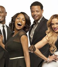 "The cast of ""The Best Man Holiday"" (left to right) Sanaa Lathan; Taye Diggs; Nia Long; Terrence Howard; Melissa De Sousa; Monica Calhoun; and Morris Chestnut. The film arrives in movie theatres around the country on Friday, November 15, 2013."