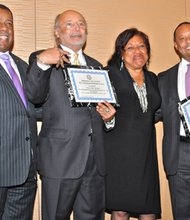"The Baltimore City NAACP Annual Freedom Fund Banquet honored 14 individuals with Thurgood Marshall Awards on Thursday, November 7, 2013. From L-R Ron Flamer, 1st Vice President of Baltimore City NAACP, honoree William ""Billy"" Murphy, Baltimore City NAACP President Tessa Hill-Aston and honoree Hassan Murphy."