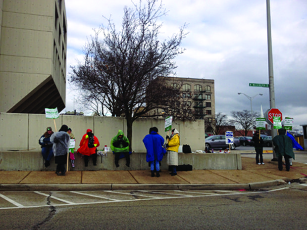 Union members picket outside the Will County Courthouse on Friday. No compromise was reached during negotiations between union and county leaders on Monday.