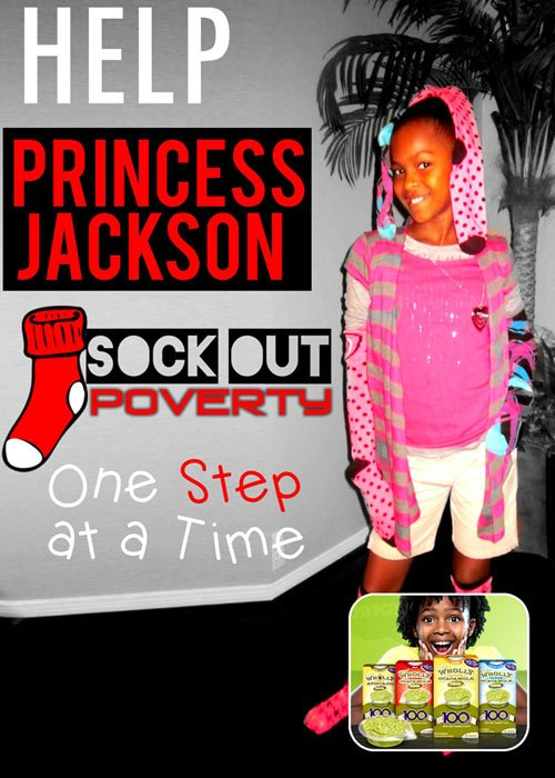"""The """"Sock Out Poverty"""" campaign was birthed by child actress Princess Jackson when talking with her dad (an HPD officer), ..."""
