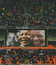 The huge crowd is pictured at Nelson Mandela's public memorial in Johannesburg, South Africa on Tuesday, December 10, 2013.
