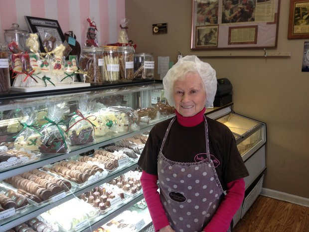 Margaret Carlson, 86, is co-owner of Hollingworth Candies in downtown Lockport. The business has been in the city's downtown for the past 14 years.