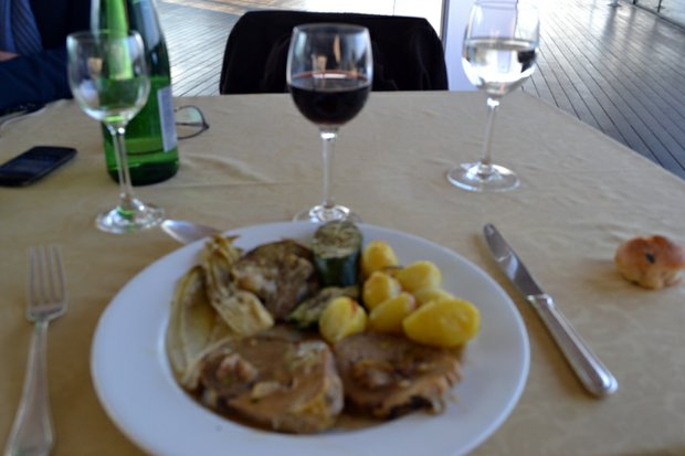 Our lunch consisted of local delicacies such as Aranchini, Prosciutto, stuffed zucchini flowers and delicate pasta infused with fresh, local truffles, sprinkled with Pecorino Romano cheese and roasted guinea hen with chestnuts and rapini.
