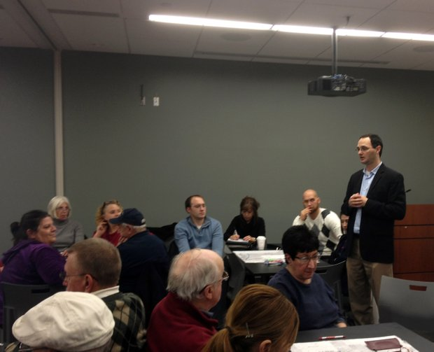 Doug Hammel, senior associate for Hoseal Lavigne Associates, speaks to residents and city officials at Monday night's Visioning Workshop in Crest Hill.