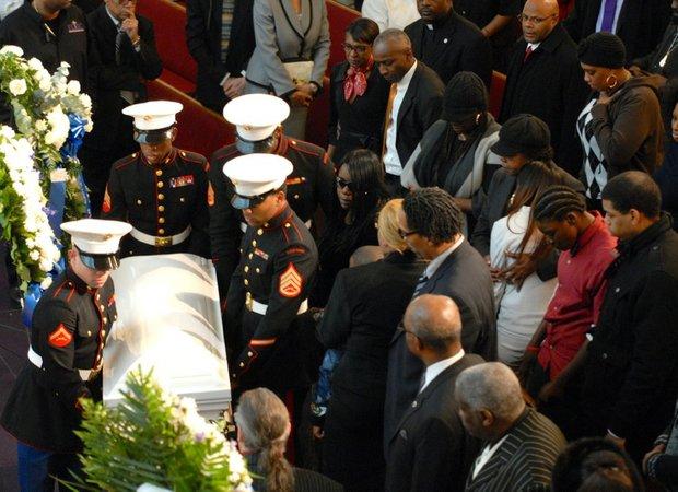 Marines transporting Myls Dobson's coffin