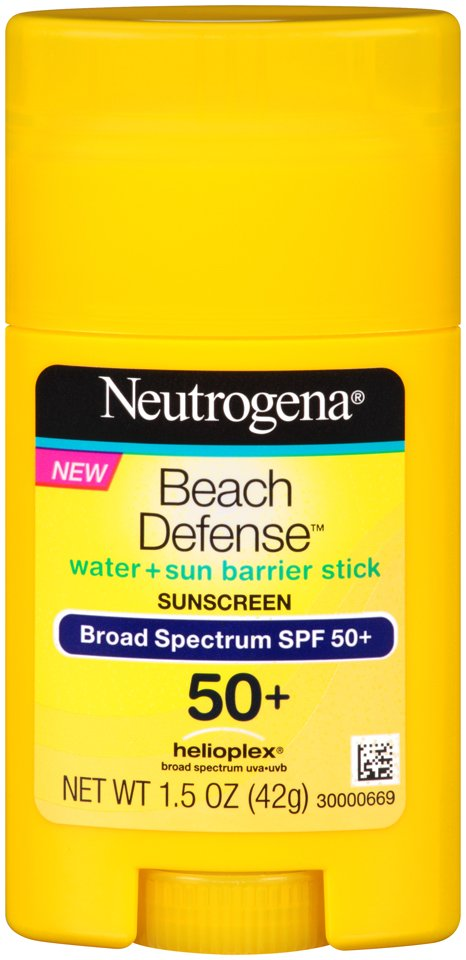 NEW!  NEUTROGENA® BEACH DEFENSE® Stick Sunscreen Broad Spectrum SPF 50+ •Unique wide-faced stick is ideal for both face and body  •No messy hands required – great for on-the-go protection throughout the day •Formulated with HELIOPLEX® Technology, a breadth of stabilizing sunscreen technologies that deliver superior protection from UVA/UVB protection  •Clean, lightweight, non-greasy feel •Suggested Retail Price SPF 50+: $9.99 / 1.5oz •Available: January 2014