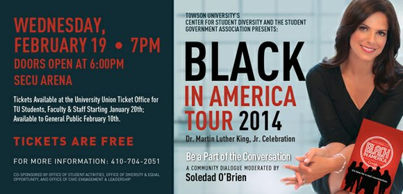 """Towson University's Center for Student Diversity and the Student Government Association present the """"Black in America Tour 2014,"""" a celebration ..."""