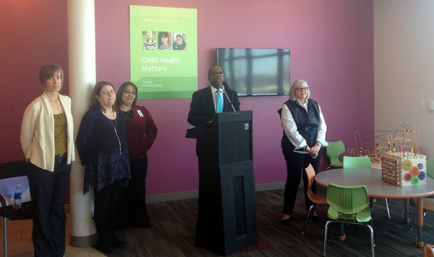 "R. Dale Evans, co-chairman of Voice for Illinois Children's Joliet committee, Chris Bzdon (far right), executive director of Child Care Resource & Referral and others who provide health and social services throughout Will County, attended a press conference at Aunt Martha's in Joliet Thursday where they discussed results of the just released Illinois Kids County 2014 ""Child Health Matters"" study."